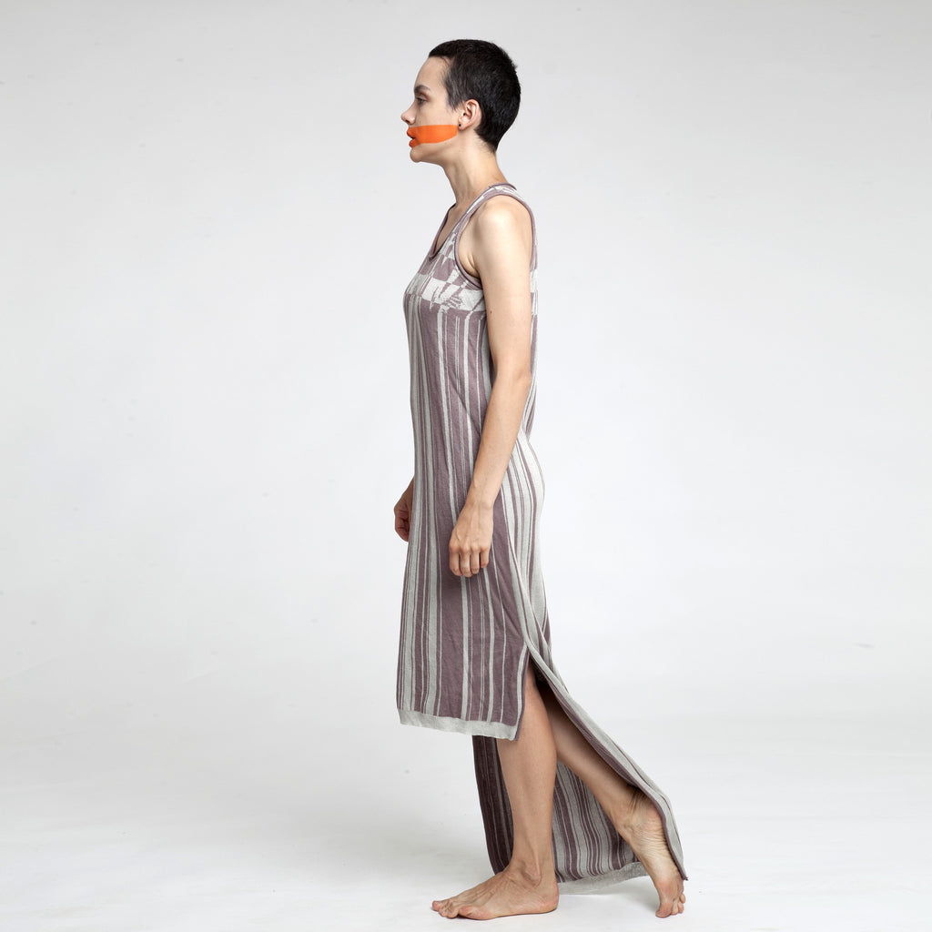 Sample Sale - Knitted jacquard Maxi dress in stone and black size S-M - DuendeFashion  - 1