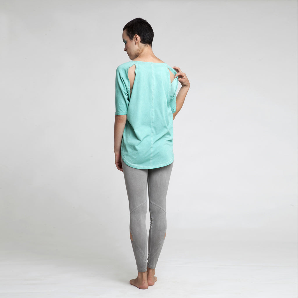 Sample Sale - Slit batwing tunic, stonewash in mint green size S