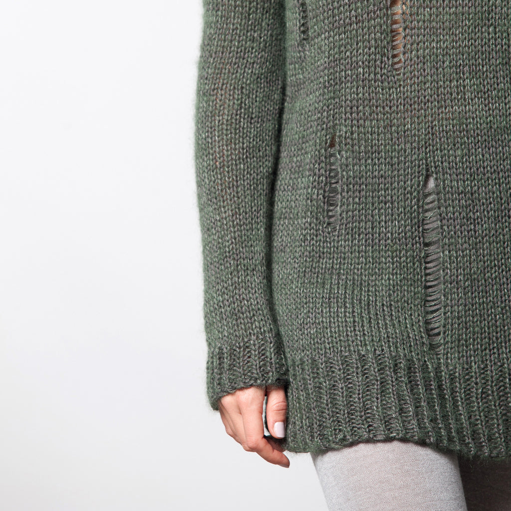 Knitted ladder detail sweater - DuendeFashion  - 1