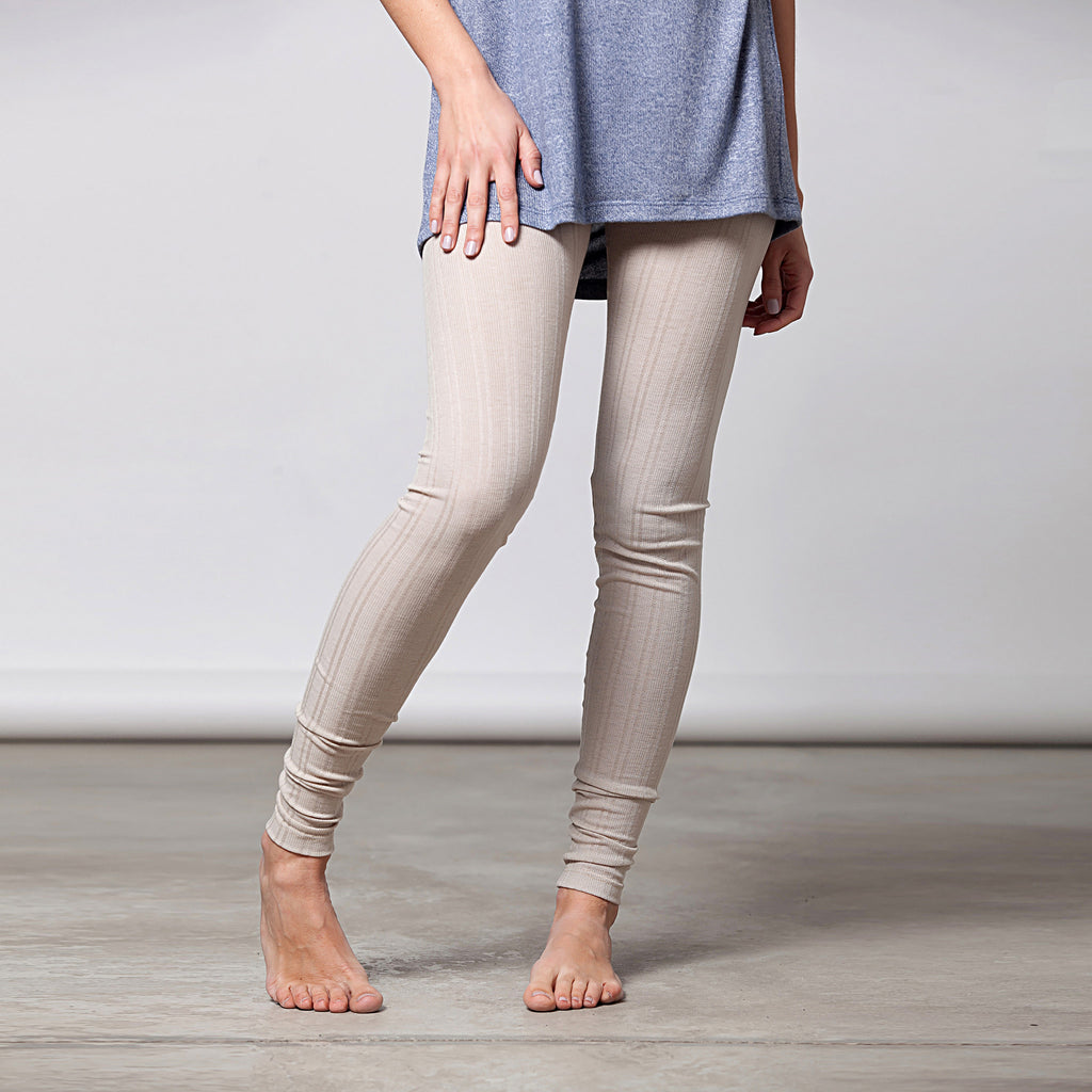 Cotton pointelle knit leggings - DuendeFashion  - 1