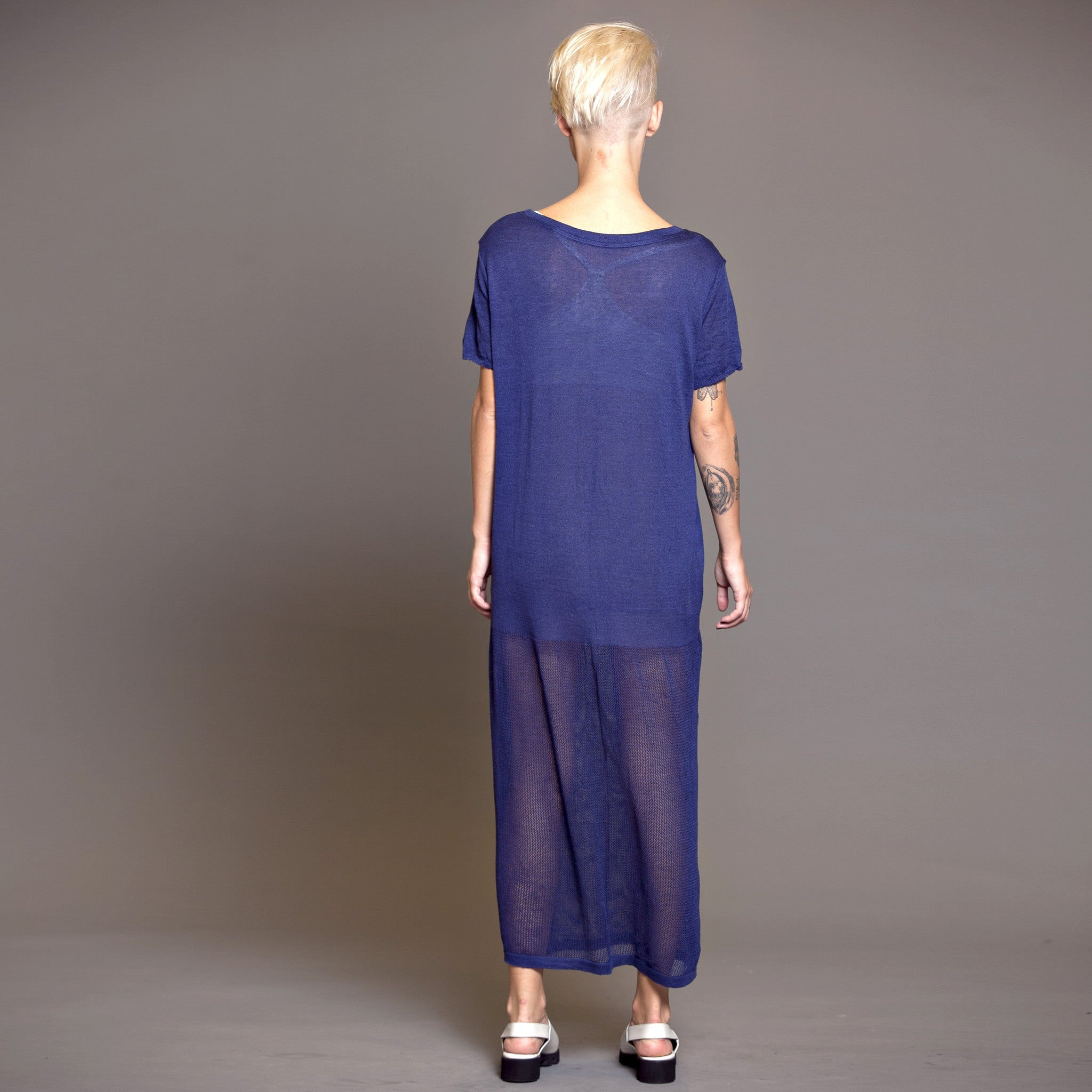 Maxi T-shirt dress, Viscose linen knit - DuendeFashion  - 4