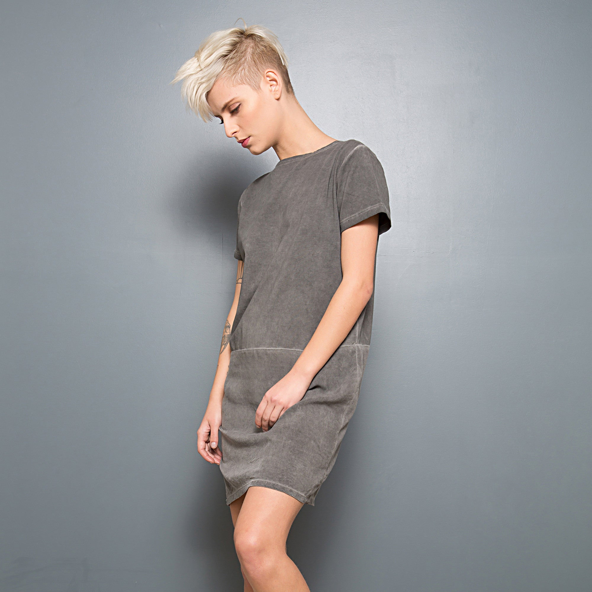 Half jersey half viscose summer T-shirt dress - DuendeFashion  - 5