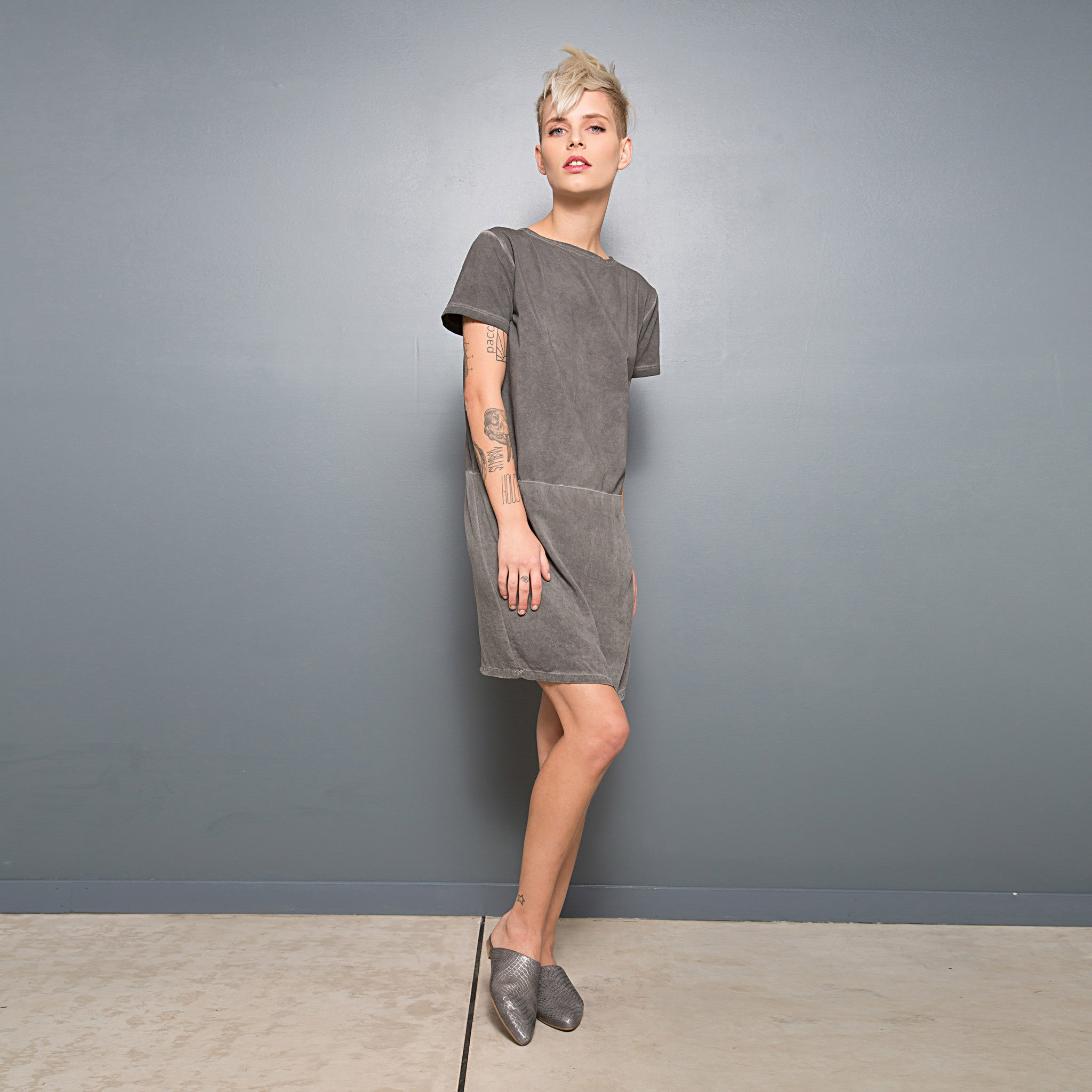 Half jersey half viscose summer T-shirt dress - DuendeFashion  - 6
