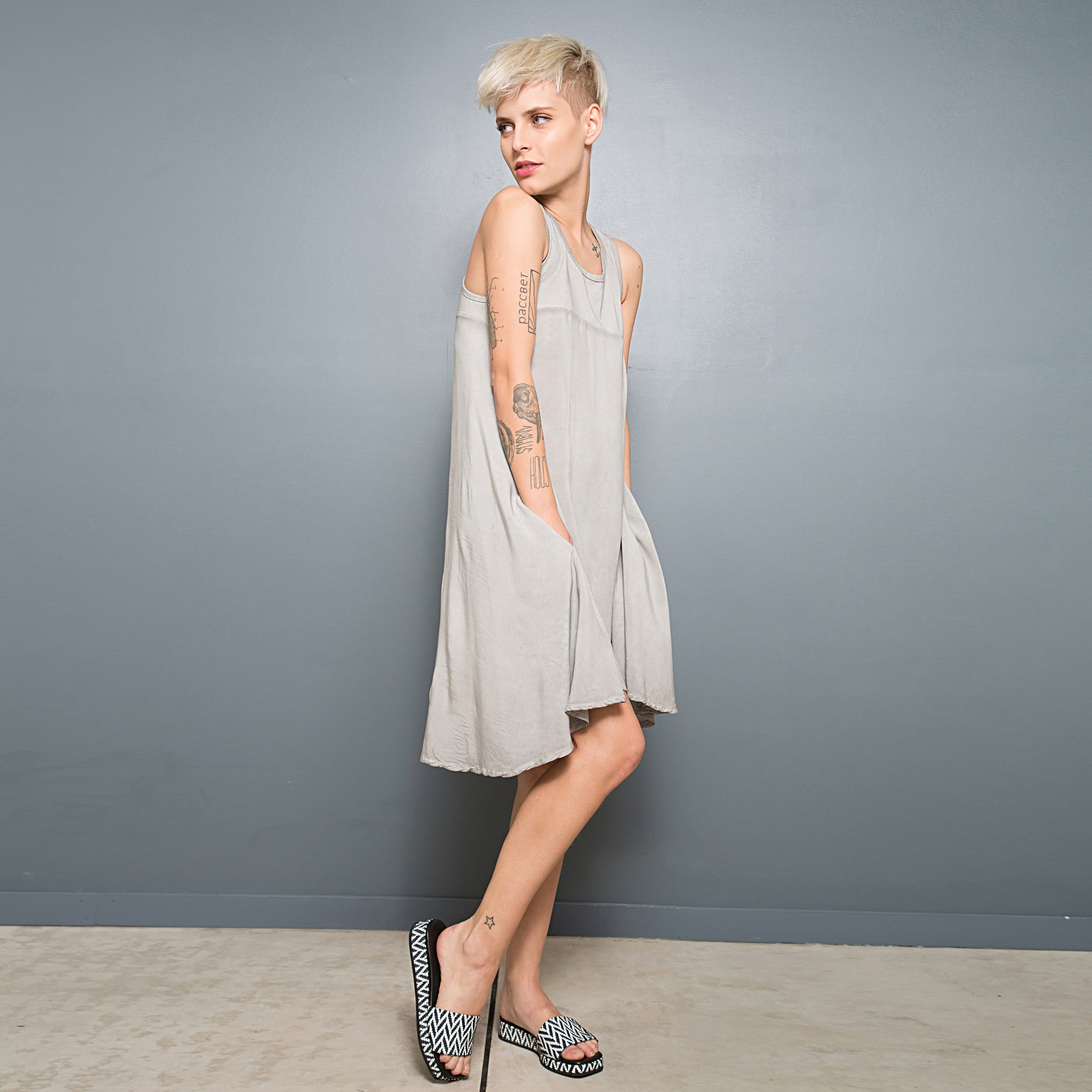 Half jersey half viscose summer dress - DuendeFashion  - 3