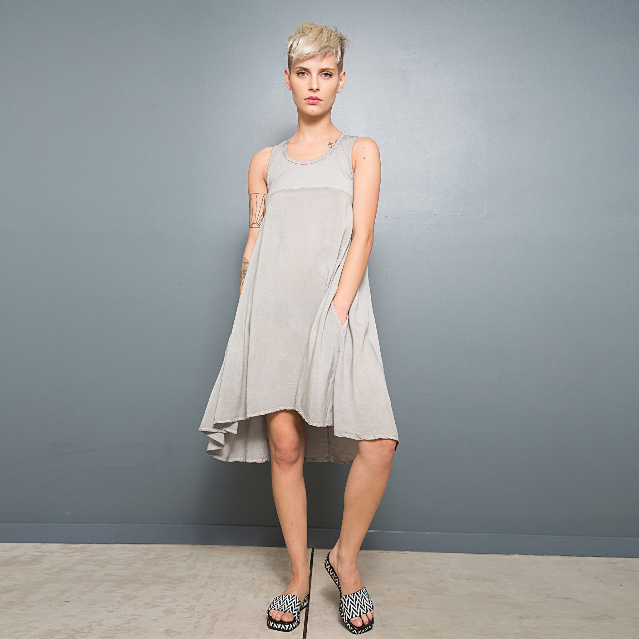 Half jersey half viscose summer dress - DuendeFashion  - 5