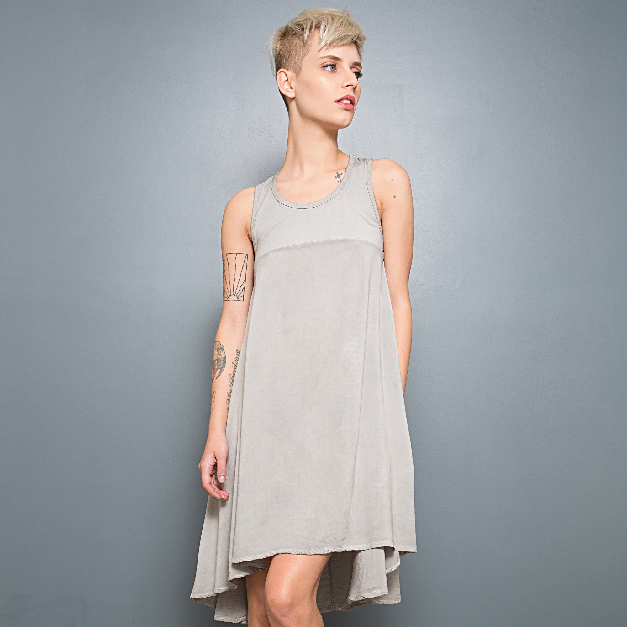 Half jersey half viscose summer dress - DuendeFashion  - 6