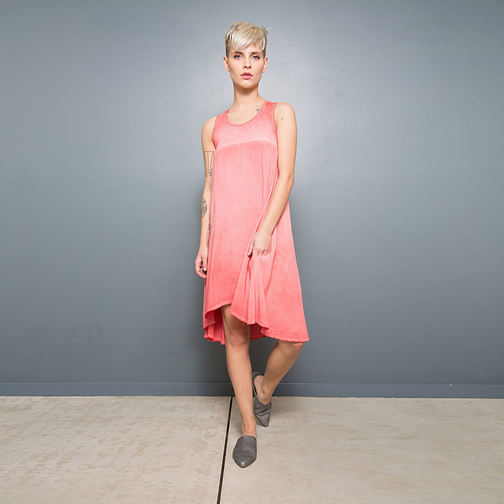 Half jersey half viscose summer dress - DuendeFashion  - 2
