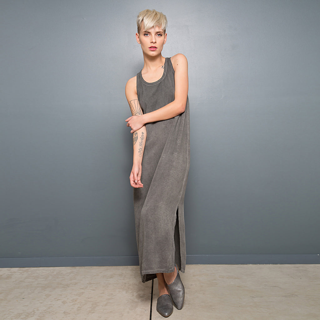 Half jersey half viscose summer maxi dress - DuendeFashion  - 1