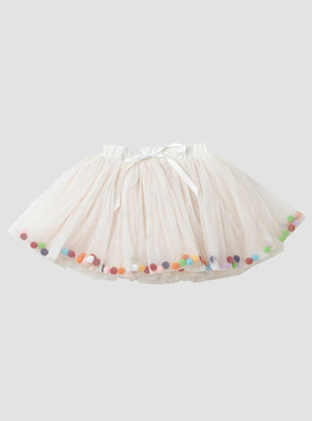 Celebration Cream Pom Pom Skirt