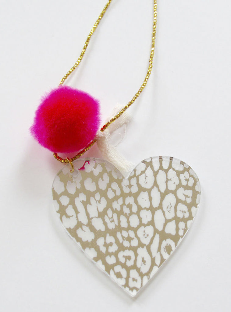 Leo Heart Pom Pom Necklace in Mirror