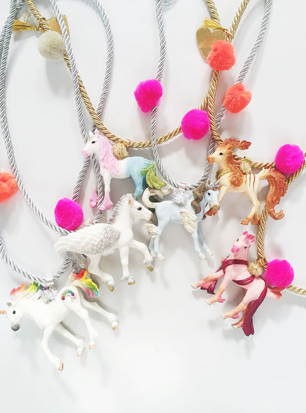 Enchanted Creatures Rainbow Unicorn Necklace - thin cord