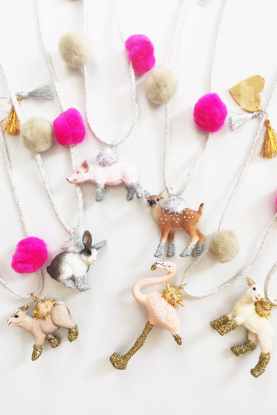 Flamingo Glitter Animal Necklace