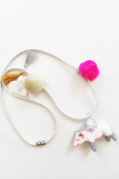 Piggie Glitter Animal Necklace