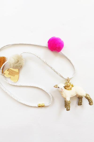 Lamb Glitter Animal Necklace