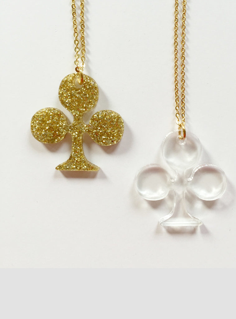 Carte Clover Necklace Gold Glitter