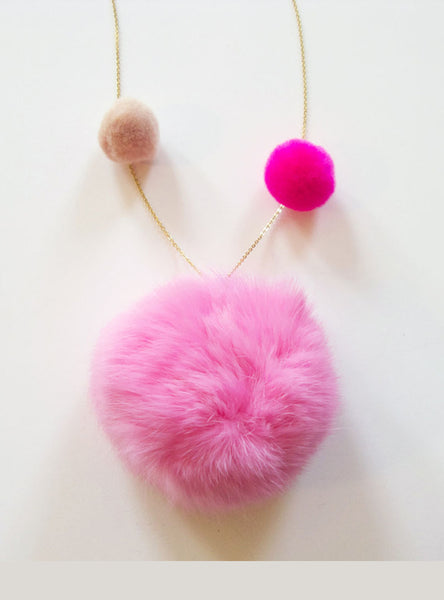 Fur Pom Pom Necklace in Pink