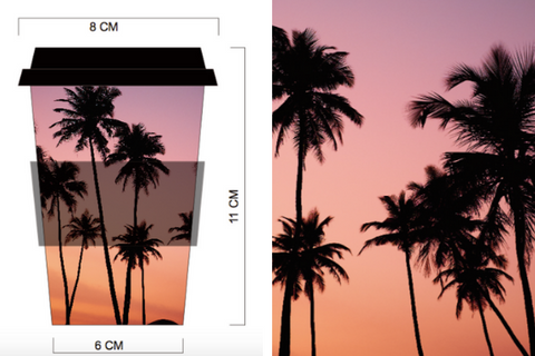 Bamboo Monkey reusable coffee cup in sunset palms design