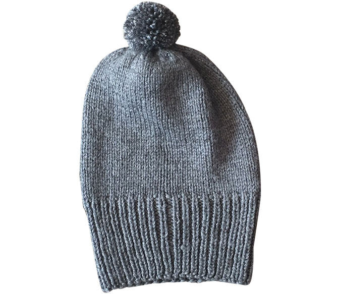 Grey Marle or Black Bamboo & Merino Beanie in Saddle Stitch pattern with Pom Pom