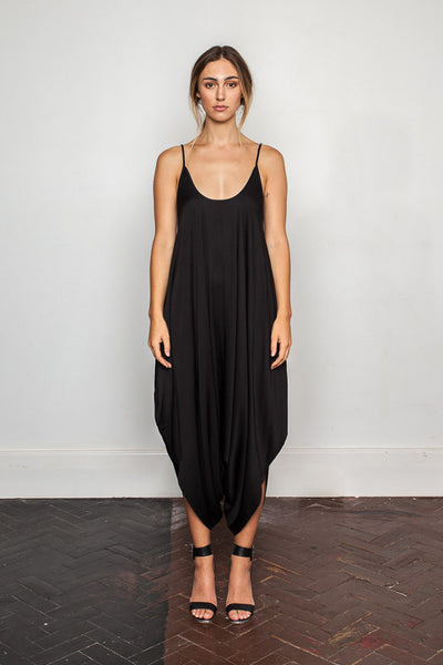Women's-bamboo-maxi jumpsuit, one size fits all in Black