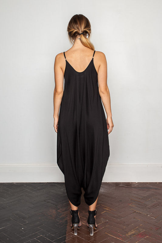 Women's-bamboo-maxi jumpsuit, one size fits all in Black back view