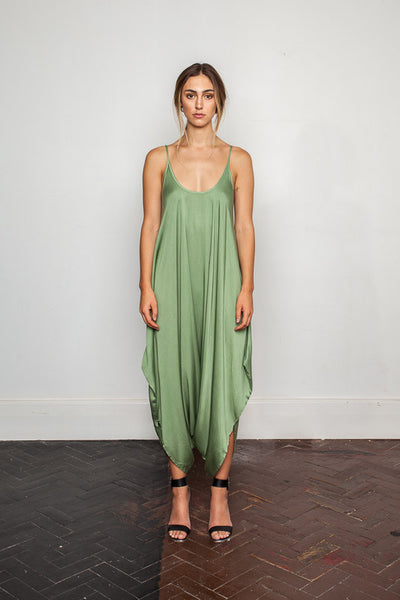 Women's-bamboo-maxi jumpsuit, one size fits all in Hidden-Garden