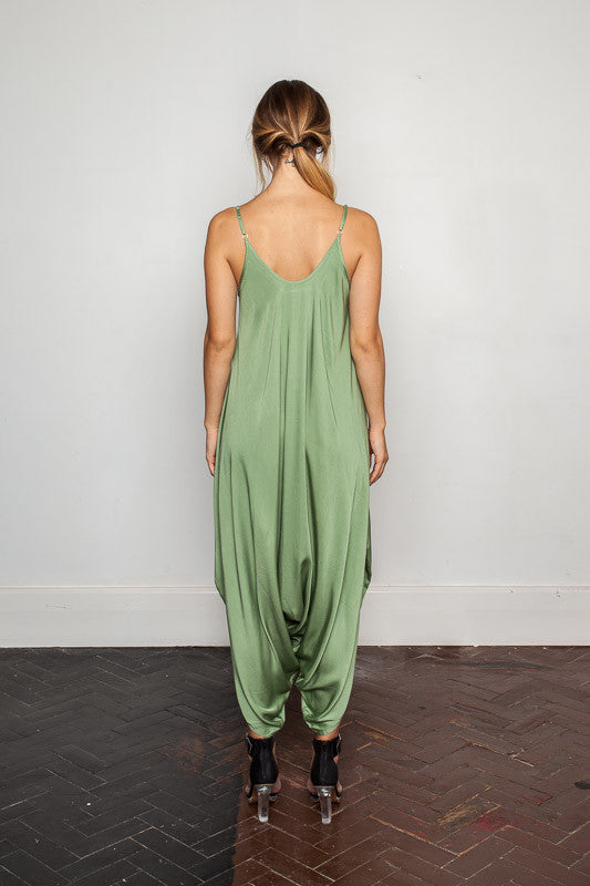 Women's-bamboo-maxi jumpsuit, one size fits all in Hidden-Garden back view