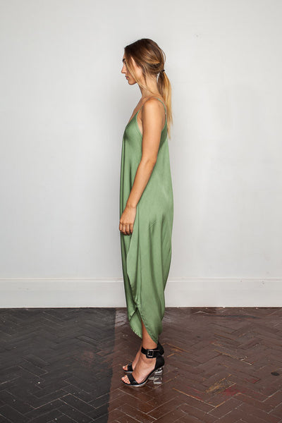 Women's-bamboo-maxi jumpsuit, one size fits all in Hidden-Garden side view