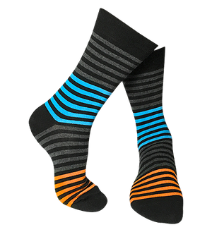 Pair of Multi-Stripe patterned-bamboo-socks