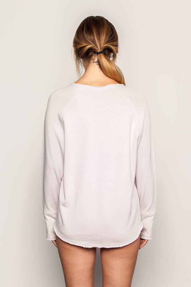 Champagne-Pink women's-bamboo-sweatshirt in raglan crew style back view