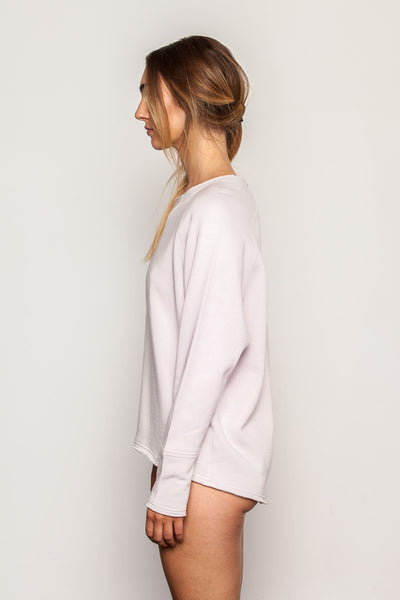 Champagne-Pink women's-bamboo-sweatshirt in raglan crew style side view