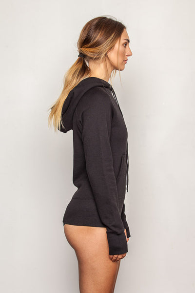 Women's-bamboo-hoodie in Black side view