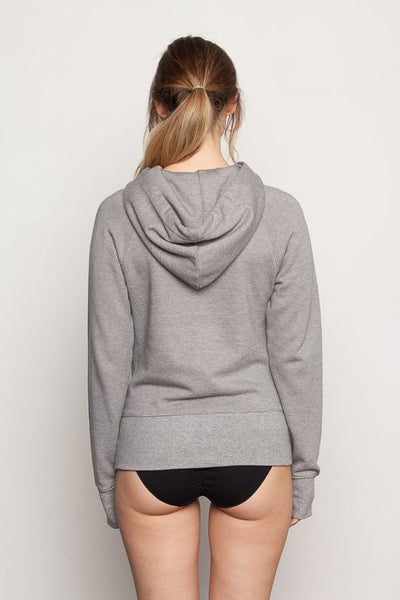 Women's-bamboo-hoodie in micro stripe back view