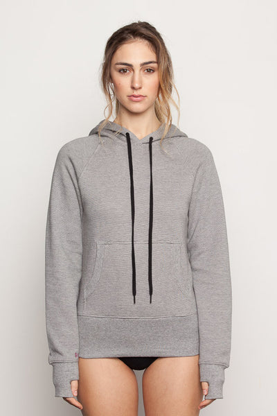 Women's-bamboo-hoodie in micro black and white stripe