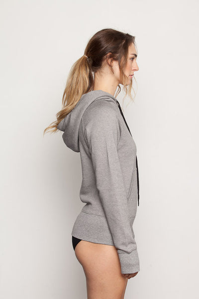 Women's-bamboo-hoodie in micro stripe side view