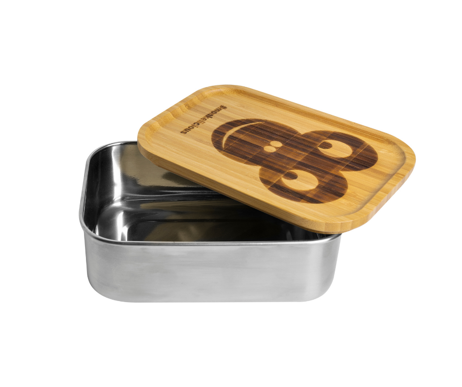 Stainless steel food storage containers | 800 ml | bamboo lid | elastic band