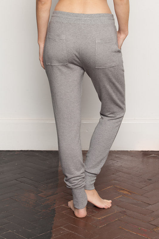 Stripe womens-bamboo-sweatpants with relaxed crutch and slim fit legs back view