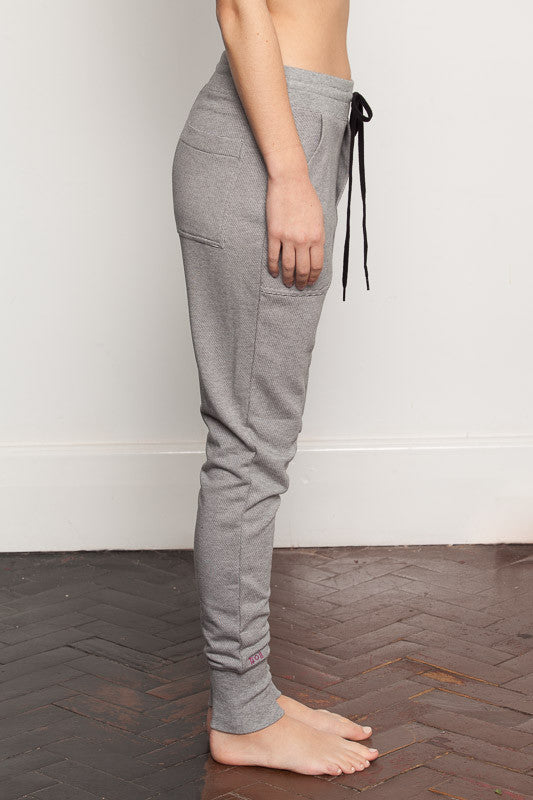 Stripe womens-bamboo-sweatpants with relaxed crutch and slim fit legs side view