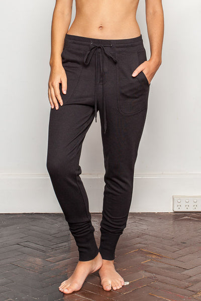 Black womens-bamboo-sweatpants with relaxed crutch and slim fit legs