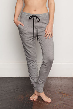 Micro Stripe womens-bamboo-sweatpants with relaxed crutch and slim fit legs