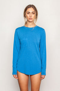 Persian-Blue women's-bamboo-t shirts in relaxed boyfriend style