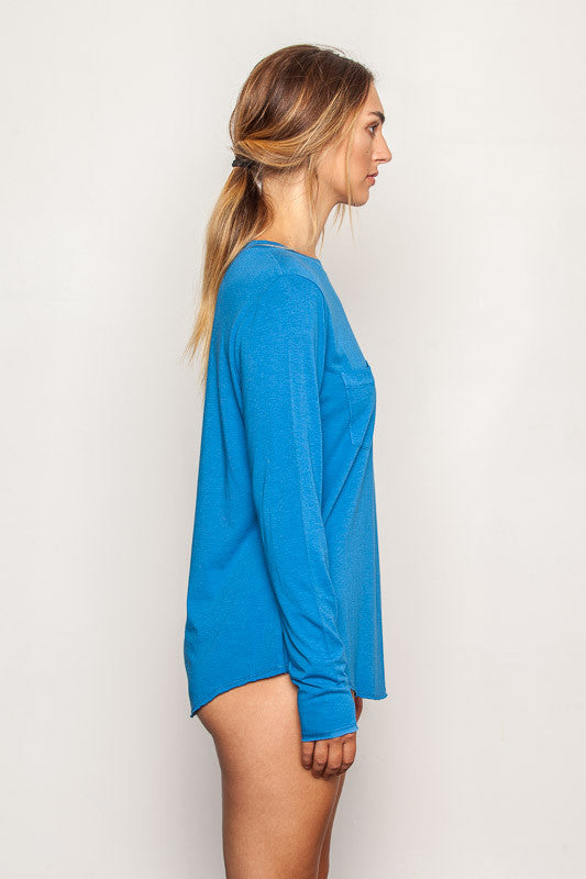 Persian-Blue women's-bamboo-t shirts in relaxed boyfriend style side view
