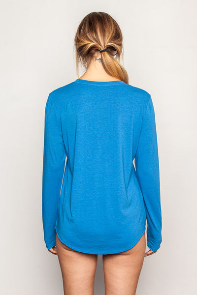 Persian-Blue women's-bamboo-t shirts in relaxed boyfriend style back view