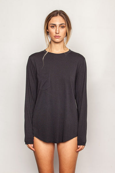 Black women's-bamboo-t shirts in relaxed boyfriend style