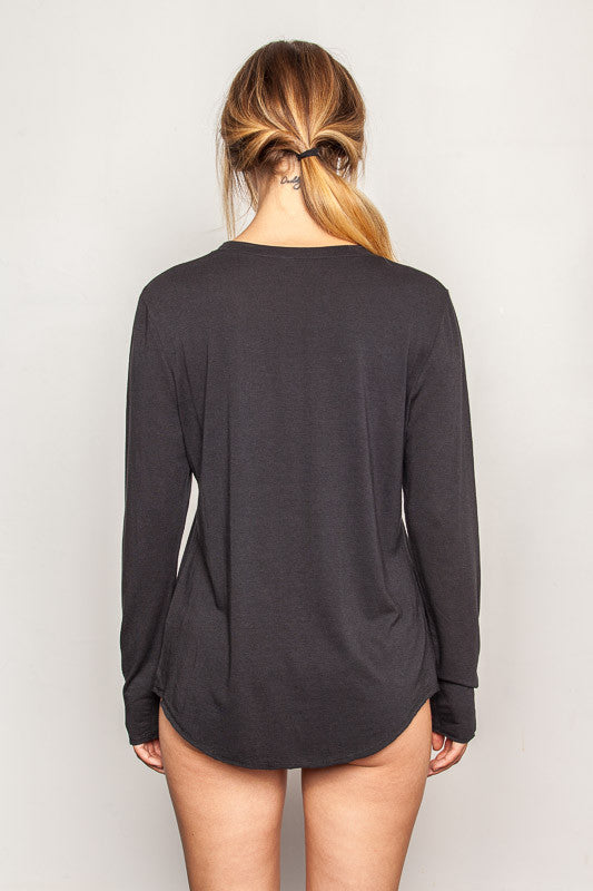 Black women's-bamboo-t shirts in relaxed boyfriend style back view