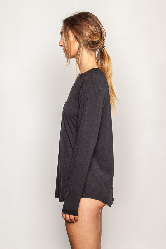 Black women's-bamboo-t shirts in relaxed boyfriend style side view