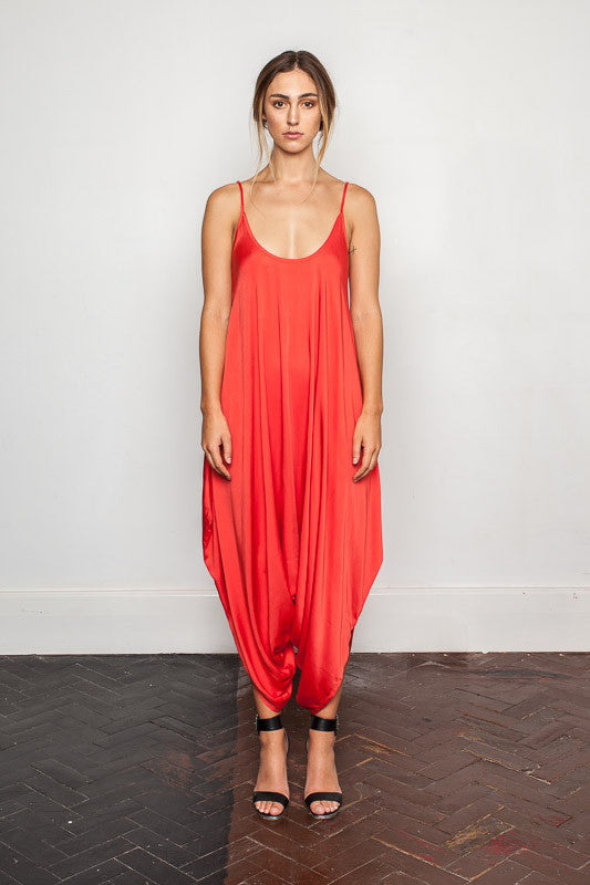 Women's-bamboo-maxi jumpsuit, one size fits all in Cloquelicot