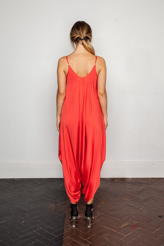 Women's-bamboo-maxi jumpsuit, one size fits all in Cloquelicot back view