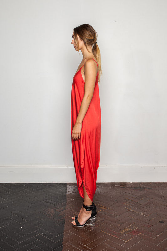 Women's-bamboo-maxi jumpsuit, one size fits all in Cloquelicot side view