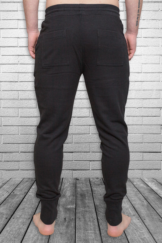 Bamboo Monkey mens urban track pant in black back view