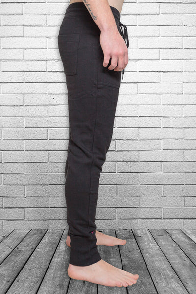 Bamboo Monkey mens urban track pant in black side view